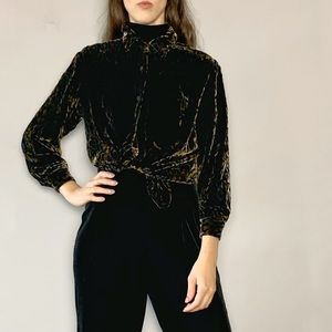 Velvet leopard button front blouse shirt